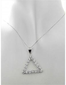 COLLANE ORO BIANCO - Collana Catenina Pendente Triangolo Donna Oro Bianco 18 Kt Carati 750 3,60 Gr