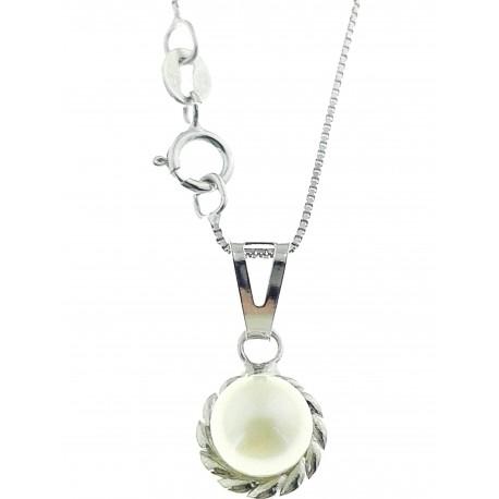 COLLANE ORO BIANCO - Collana Catenina Pendente Perla Donna Oro Bianco 18 Kt Carati Ct 750 1,30 Gr