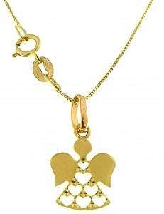 Collana Catenina Pendente Angelo Donna Oro Giallo 18 Kt Carati Ct 750 1,10 Gr