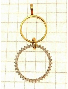 PENDENTI ORO GIALLO - Ciondolo Pendente Donna Oro Giallo Bianco 18 Kt Carati Ct 750 3,0 Gr