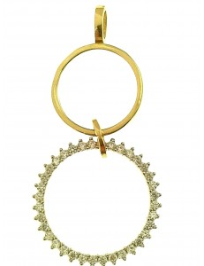 Ciondolo Pendente Donna Oro Giallo Bianco 18 Kt Carati Ct 750 3,0 Gr