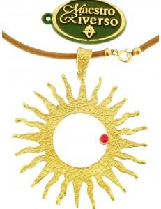 COLLANE ORO GIALLO - Collana Catenina Girocollo Donna Oro Giallo 18 Kt Carati Ct 750 7,70 Gr Rubino