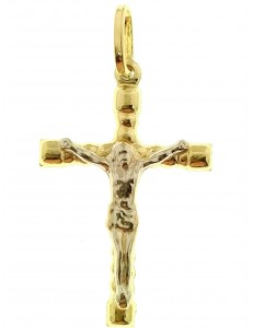 Ciondolo Pendente Croce Uomo Donna Oro Giallo Bianco 18 Kt Carati Ct 750