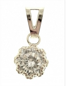 PENDENTI ORO - Ciondolo Pendente Donna Oro Bianco 18 Kt Carati Ct 750 0,55 Gr Punto Luce