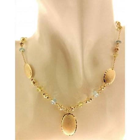 COLLANE ORO GIALLO - Collana Girocollo Collier Donna Oro Giallo 18 Kt Carati Ct 750 14,40 Gr