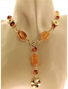 COLLANE ORO GIALLO - Collana Girocollo Collier Donna Oro Giallo 18 Kt Carati Ct 750 7,30 Gr Ambra