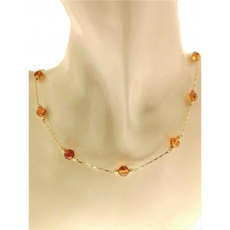 COLLANE ORO GIALLO - Collana Girocollo Collier Donna Oro Giallo 18 kt Carati Ct 750 5,60 Gr Ambra