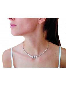 COLLANE ORO BIANCO - Collana Girocollo Collier Donna Ragazza Oro Bianco 18 Kt Carati Ct 750 14,50 Gr