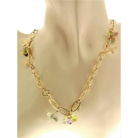 COLLANE ORO GIALLO - Collana Girocollo Collier Donna Oro Giallo 18 Kt Carati Ct 750 7,70 Gr Charms