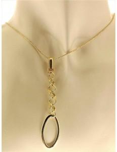 Collana Catenina Girocollo Donna Oro Giallo Bianco 18 Kt Carati Ct 750 5,30 Gr