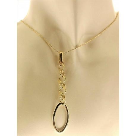 COLLANE ORO GIALLO - Collana Catenina Girocollo Donna Oro Giallo Bianco 18 Kt Carati Ct 750 5,30 Gr