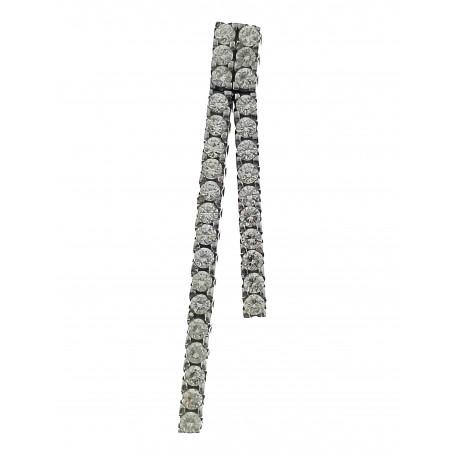 PENDENTI ORO BIANCO - Ciondolo Pendente Baguette Donna Oro bianco 18 Kt Carati CT 750 2,45 Gr