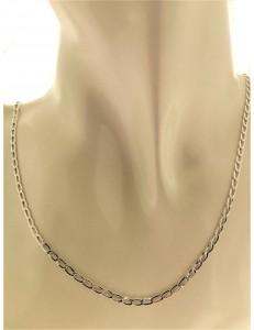 COLLANE UNISEX - Collana Catena Catenina 46 Cm Uomo Donna Oro Bianco 18 kT 750 2,65 Gr