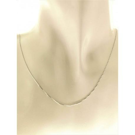 COLLANE UNISEX - Collana 1,20Gr Catenina Girocollo Oro Bianco 18 Kt Carati Ct 750 Uomo Donna 45Cm