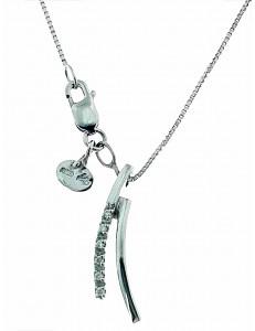 COLLANE  DIAMANTI - Collana Catenina Pendente Donna Oro Bianco 18 kt Carati Diamanti 0,05 Ct