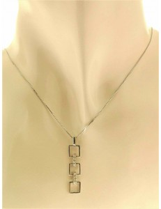 COLLANE  DIAMANTI - Collana Catenina Girocollo Pendente Diamanti Donna Oro Bianco 18 Carati kt 750
