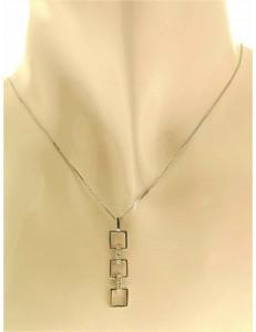 COLLANE  DIAMANTI - Collana Catenina Girocollo Pendente Diamanti Donna Oro Bianco 18 Carati kt 750