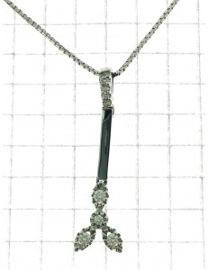 COLLANE  DIAMANTI - Collana Girocollo Pendente Diamanti Donna Oro Bianco 18 Kt Carati 750 0,13 Ct
