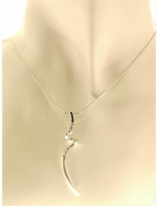 COLLANE  DIAMANTI - Collana Catenina Donna Pendente Oro Bianco 18 kt Carati Diamanti 0,06 Ct 4,70 Gr