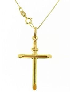 Collana Catenina 45cm Croce Uomo Donna Oro Giallo 18 kt Carati Ct 750 1,55 Gr