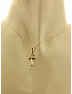 COLLANE UNISEX - Collana Catenina Croce Egizia Uomo Donna Oro Giallo 18 kt Carati 750 1,25 Gr
