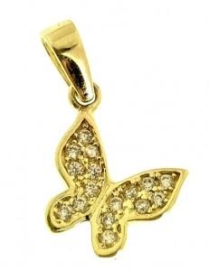 Ciondolo Pendente Farfalla Donna Oro Giallo 18 Kt Carati Ct 750 0,55 Gr