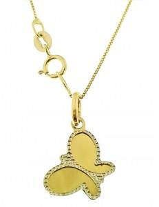 Collana Catenina Veneziana Donna Oro Giallo 18 Kt Carati Ct 750 Farfalla
