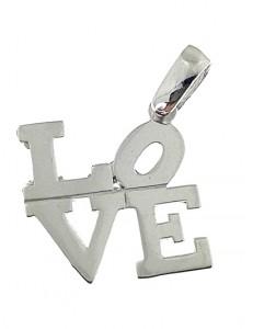 Pendente Donna Oro Bianco 108 Kt Carati Ct 750 1,20 Gr Love