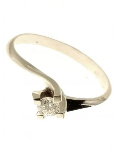 ANELLI DIAMANTI - Anello Donna Diamante 0,16 Ct H IF Valentino Solitario Bianco 18 Kt Carati 750