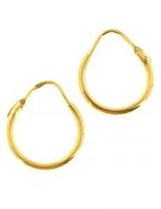 ORECCHINI ORO - Orecchini Cerchi Cerchio Donna Bambina  Oro Giallo 18 Kt Carati Ct 750 Gr 1,35