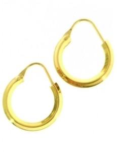 ORECCHINI CERCHIO GIALLI - Orecchini Donna Cerchio Cerchi Oro Giallo Bianco 18 kt Carati Ct 750 1,85 Gr