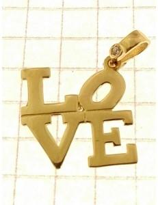Pendente Donna Oro Giallo 18 Kt Carati Ct 750 1,15 Gr Love