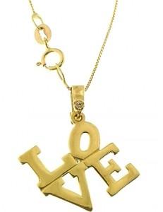 Collana Catenina Love Uomo Donna Oro Giallo 18 Kt Carati Ct 750 1,85 Gr
