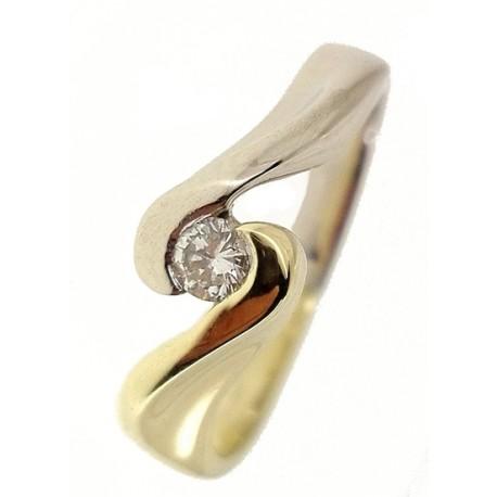 Anello Contree Donna Oro Giallo Bianco 4,75 Gr 18 Kt Carati 750 Diamanti 0,10 Ct
