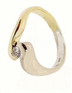 Anello Contree Donna Oro Giallo Bianco 4,75 Gr 18 Kt Carati 750 Diamanti 0,10 Ct