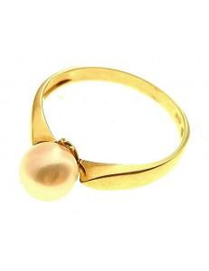 Anello Donna Oro Giallo 18 kt Carati Ct 750 Perla Mikiko 2,3 Gr