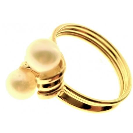 Anello Donna Oro Giallo 18 Kt Carati Ct 750 2,4gr Contrèe Perle