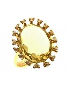 Anello Donna Oro Giallo 18 KT Carati Ct 750 Gr 7,60 Zirconi Taglio Brillante