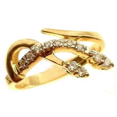 Anello Serpente Donna Oro Giallo 18 KT Carati Ct 750 Gr 3,50 Zirconi