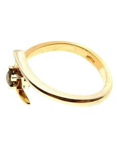 ANELLI ORO GIALLO - Anello Donna Oro Giallo Bianco 18 KT Carati Ct  750 Gr 3,70 Zaffiro 0.,20 Ct
