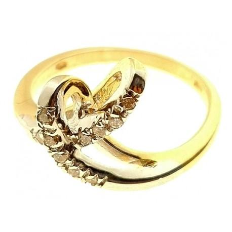 Anello Donna Oro Giallo Bianco 18 KT Carati Ct 750 Gr 4,30