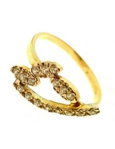 Anello Donna Oro Giallo 18 KT Carati Ct 750 Gr 2,70 Zirconi Taglio Brillante