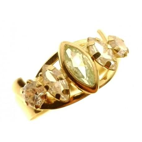 Anello Donna Oro Giallo 18 KT Carati Ct 750 Gr 2,0 Zirconi Taglio Brillante