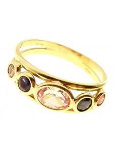 Anello Donna Zirconi Oro Giallo 18 kt Carati Ct 750 2,55 Gr