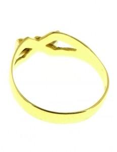 ANELLO FIOCCO - Oro Giallo 18 KT Carati Ct 750 Gr Zirconi Taglio Brillante