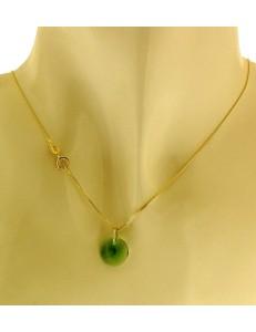 Collana Catenina Cristalli della Fortuna Donna Oro Giallo 18 Kt Carati Ct 750 1,10Gr