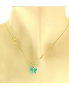 Collana Della Fortuna oro Giallo Donna 18 Kt Carati Ct 750 Farfalla