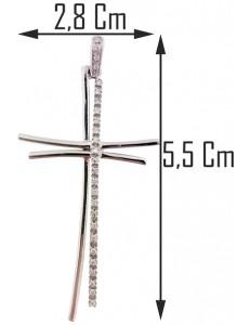 PENDENTE CROCE CON DIAMANTI - Oro Bianco 18 kt Carati 750 5,50 Gr 0,19 CT