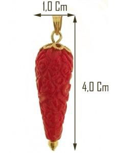 PENDENTE CORNETTO - Corno Donna Oro Giallo 18 Kt Carati Ct 750