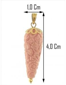 PENDENTE CORNETTO LILLA - Corno Donna Oro Giallo 18 Kt Carati Ct 750